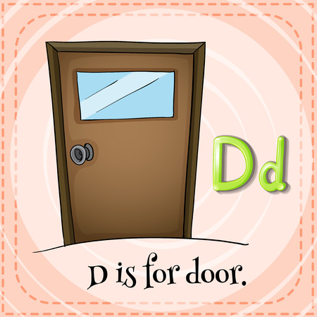 Flashcard letter D is for door Vector