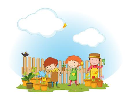 landscape gardener: People working in the garden Illustration