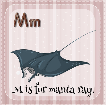 Flashcard alphabet M is for manta ray Vector