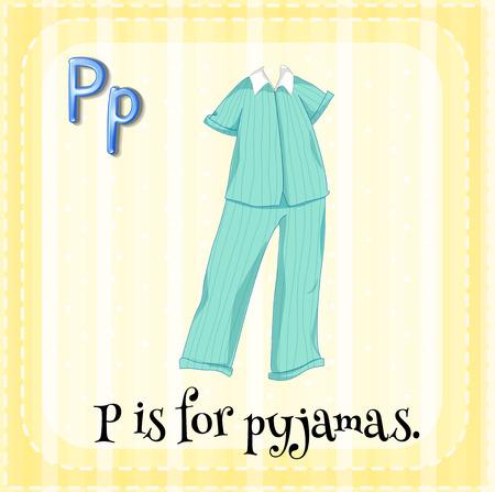 striped pajamas: Flashcard letter P is for pyjamas Illustration