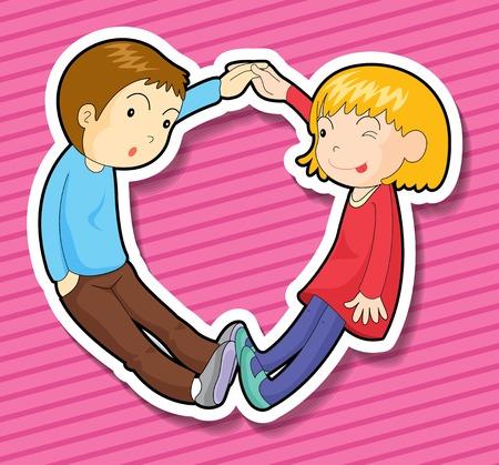 enamorados caricatura: Courple tomados de la mano con el fondo de color rosa