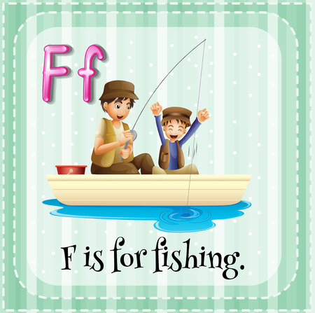 Flashcard letter  F is for fishing Vector