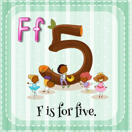 number border: Flashcard letter F is for five Illustration