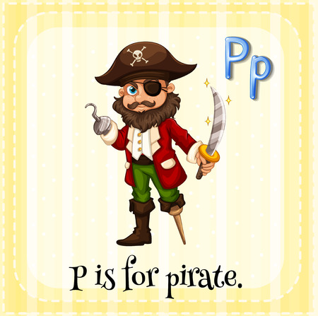 theif: Flashcard letter P is for pirate