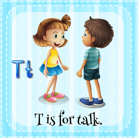 Flashcard letter T is for talking Illustration