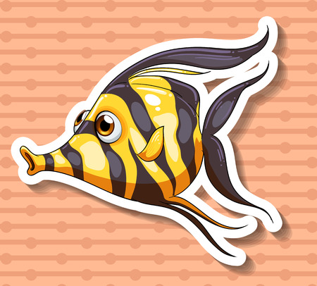 closeup: Closeup fancy fish swimming alone Illustration