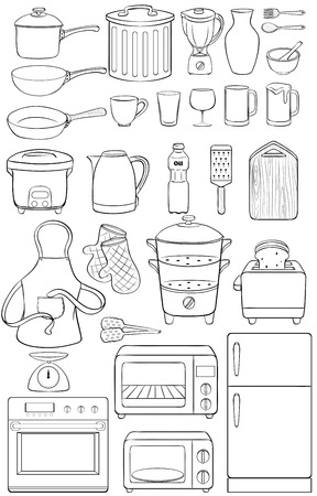 rice cooker: Different kind of objects in the house Illustration