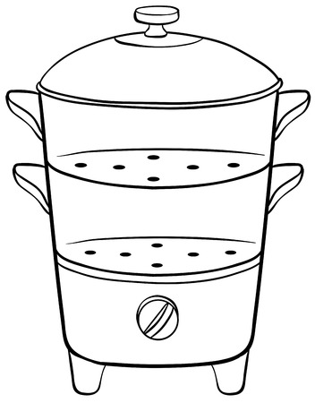 Closeup double steamer with lid Vector
