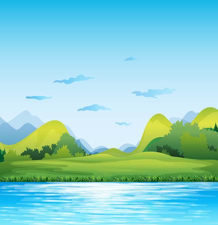 Szene von einer grünen Wiese am Fluss