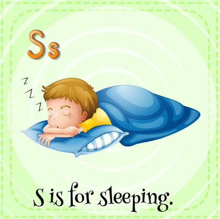 kid s illustration: Flashcard alphabet S is for sleeping