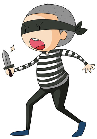 theif: Closeup angry robber with a handknife in his hand