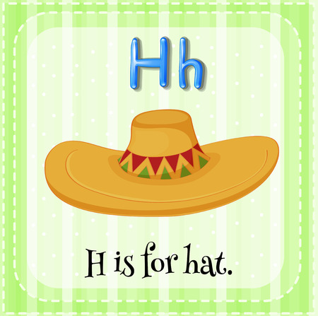 letter alphabet pictures: Flashcard letter H is for hat with green background