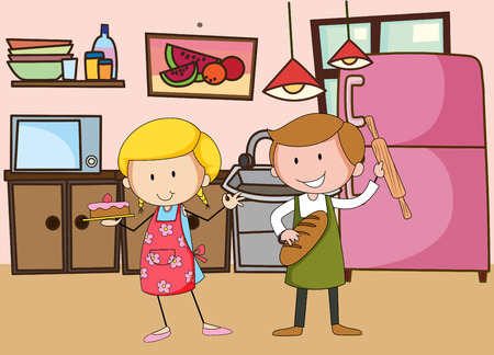 baking bread: Two bakers working in the kitchen Illustration