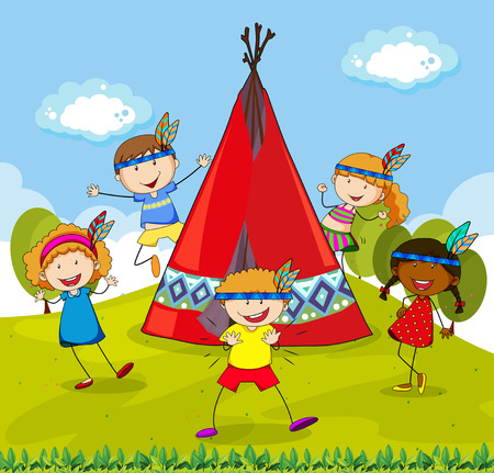 Children playing indians around red teepee Vector