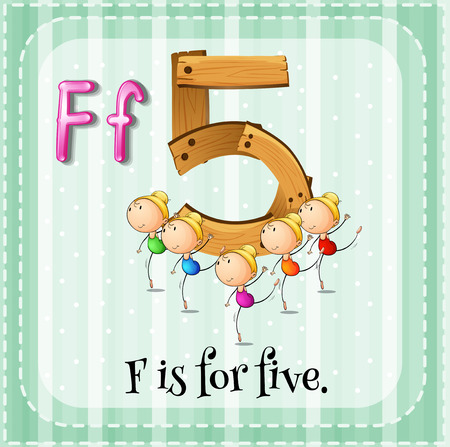 countable: Flashcard letter F is for five Illustration