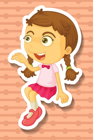 closeup: Closeup happy girl smiling alone Illustration