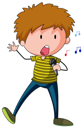 cartoon singing: Closeup male singer singing a song