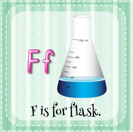 linguistic: English flashcard letter F is for flask