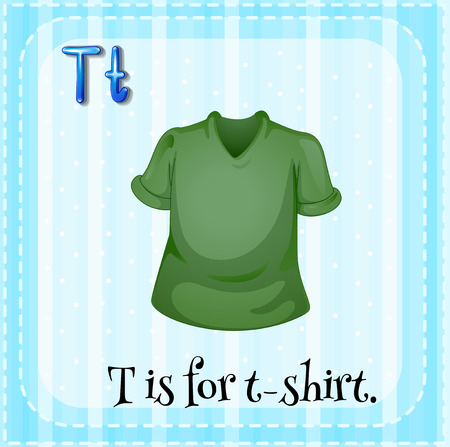 t background: Flashcard letter T is for t-shirt with blue background