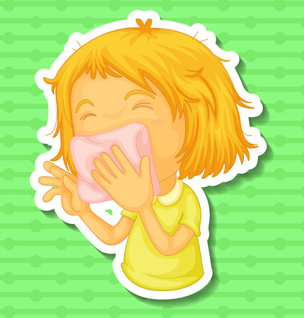 hankerchief: Closeup sick girl covering her mouth with napkin