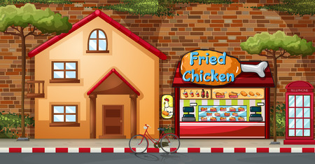 home clipart: Fastfood shop and building by the road