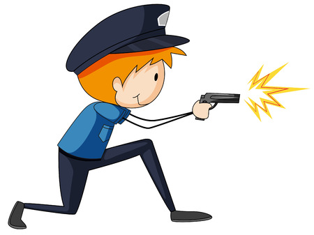 firing: Closeup single policeman firing a gun