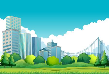 City scene with talk buildings and bridge