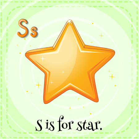 star clipart: Flashcard letter S is for star