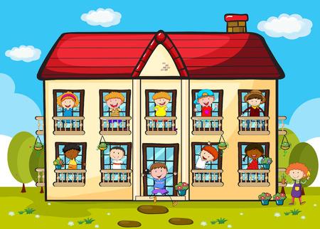 arboles de caricatura: Muchas personas que viven en un gran apartamento