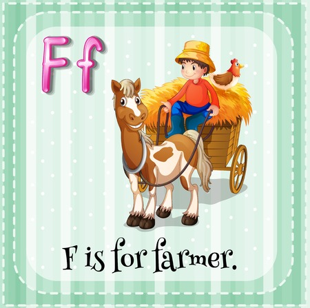horse cart: Flashcard letter F is for farmer