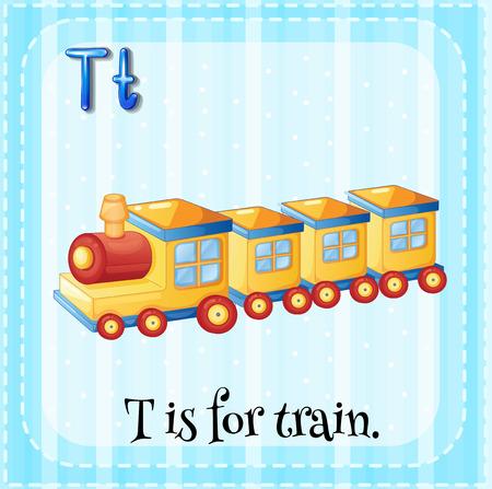 tren caricatura: Alfabeto Flashcard T es para el tren