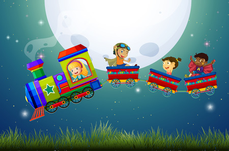 girls night: Boys and girls riding on a train at night Illustration