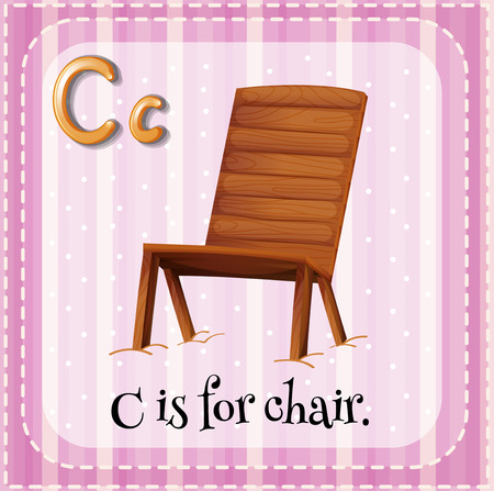 writing chair: Flashcard letter C is for chair