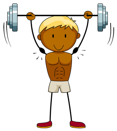 muscular: Closeup muscular man lifting weights Illustration