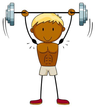 hombre levantando pesas: Primer hombre musculoso levantamiento de pesas Vectores