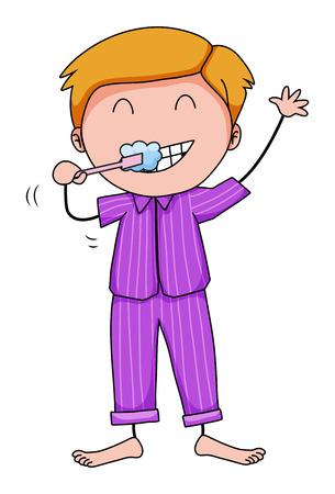 brushing: Closeup man in his pajamas brushing teeth