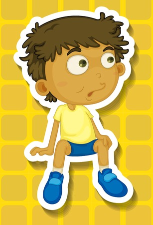 human eye close up: Closeup boy sitting on yellow background