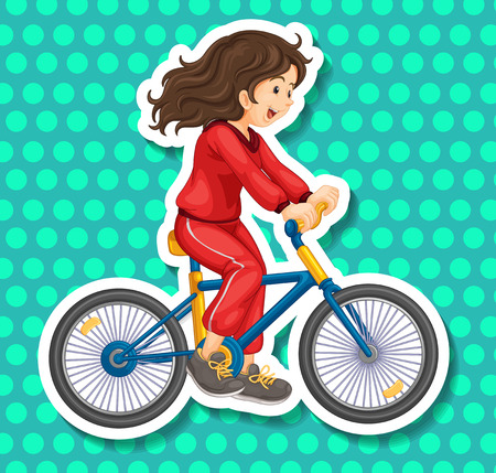 jumpsuite: Closeup happy girl riding a bicycle