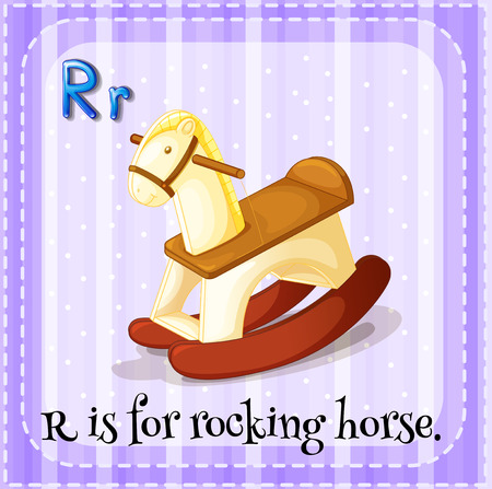 linguistic: Flashcard letter R is for rocking horse Illustration
