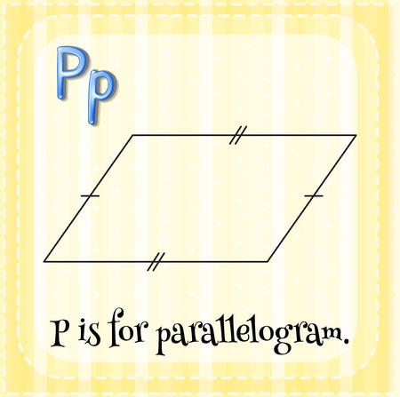 parallelogram: Flashcard letra P es para paralelogramo con fondo amarillo