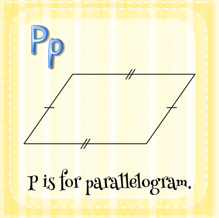 parallelogram: Flashcard letter P is for parallelogram with yellow background