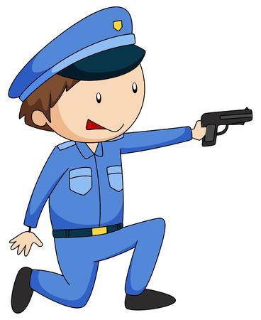 firing: Closeup policeman in uniform firing a gun Illustration