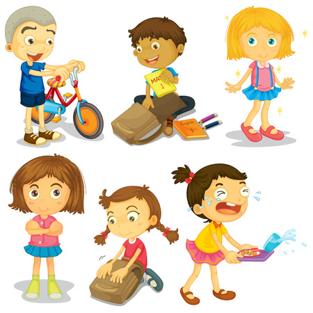 cartoon school girl: Happy children doing different activities