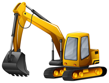 dig up: Closeup yellow excavator with giant shovel Illustration