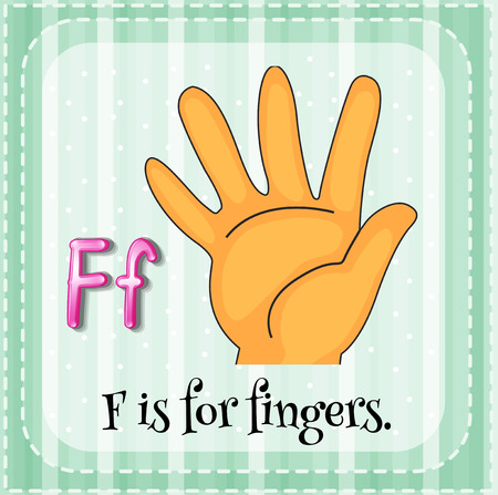 cartoon body: Flashcard letter F is for fingers