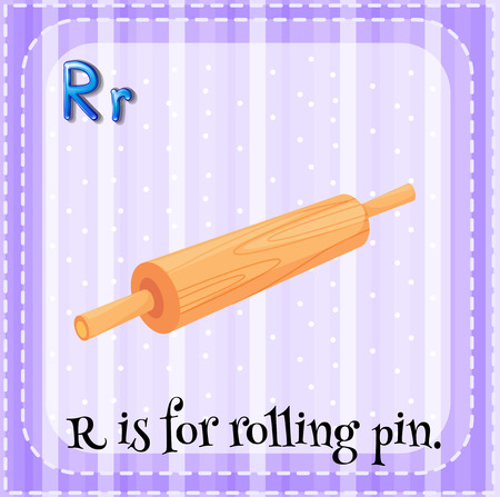 linguistic: Flashcard alphabet R is for rolling pin