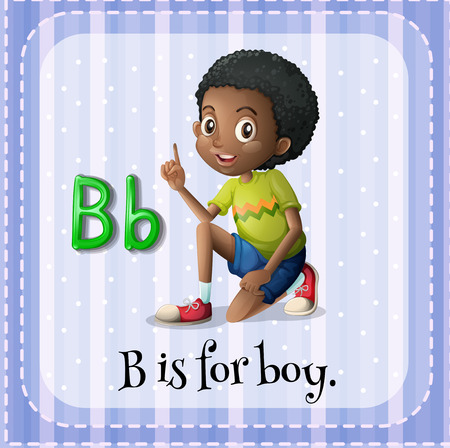 curly hair child: Flashcard letter B is for boy