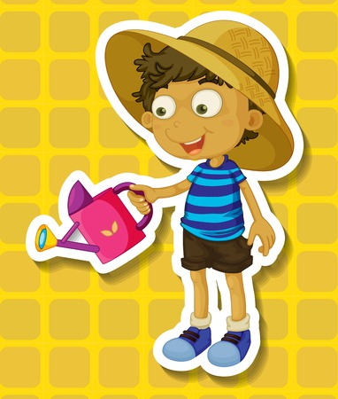 household chores: Closeup happy boy watering plants Illustration
