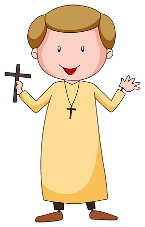 believes: Closeup Priest in uniform holding a cross