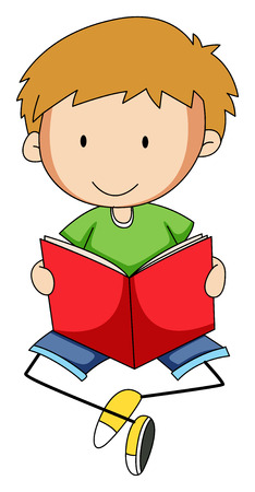 freetime activity: Closeup happy boy reading a book Illustration